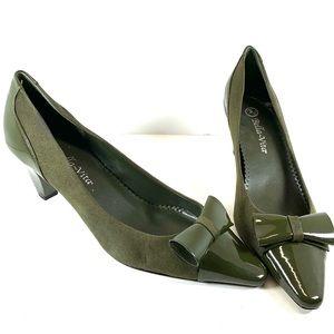 Olive Green square toe heels